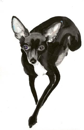 "Elegant Gladys. Watercolor. 9"" x 6"""
